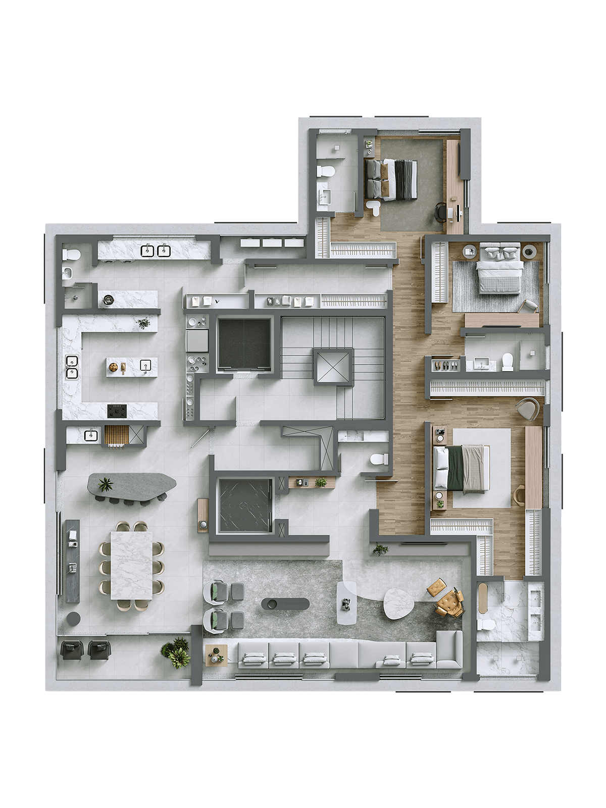 Opção com sala ampliada